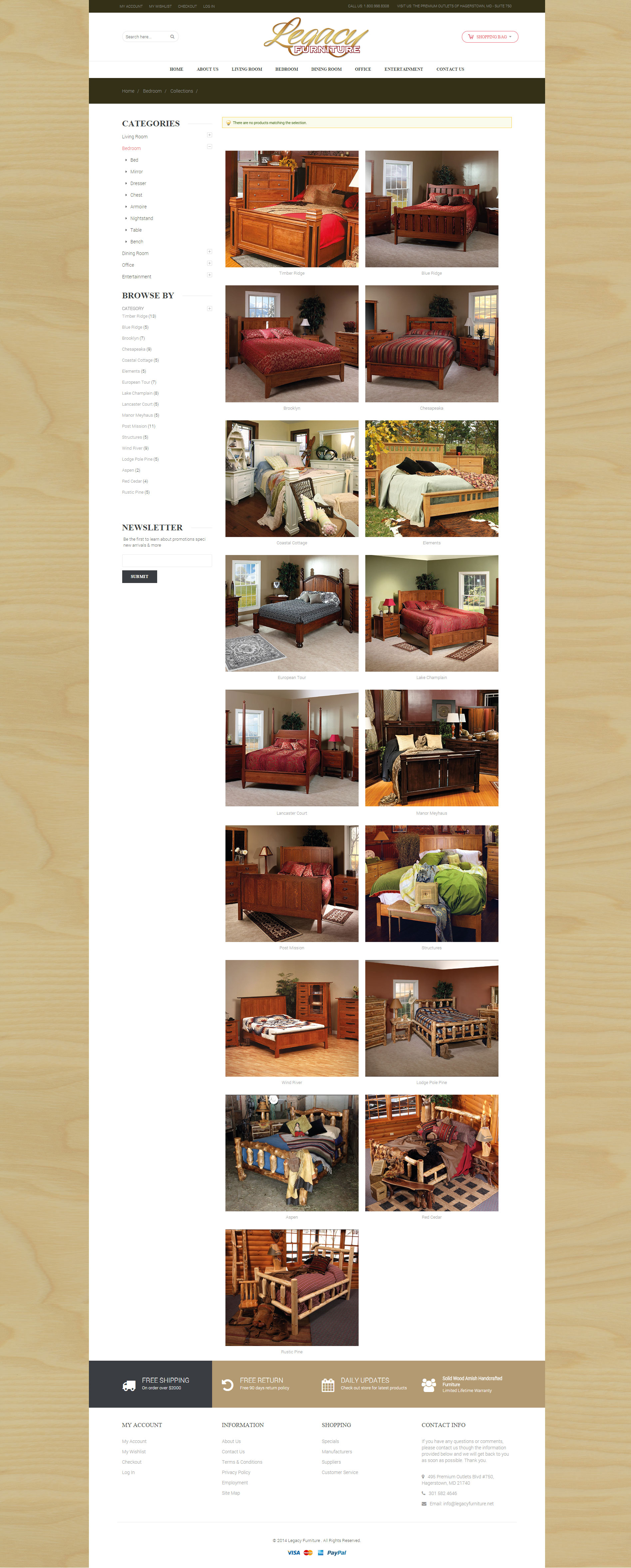 Legacy Furniture Bedrooms page