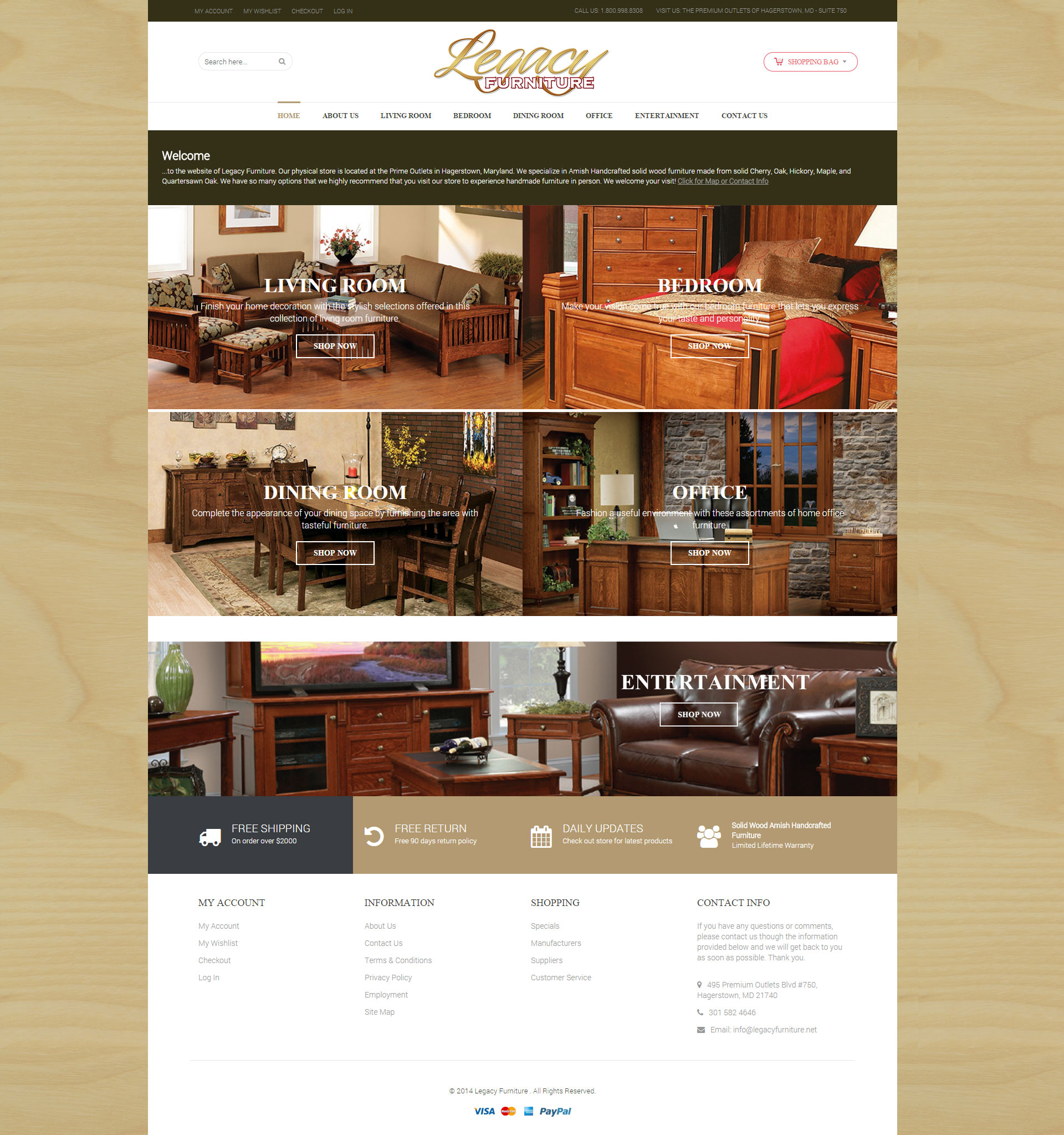 Legacy Furniture Home page