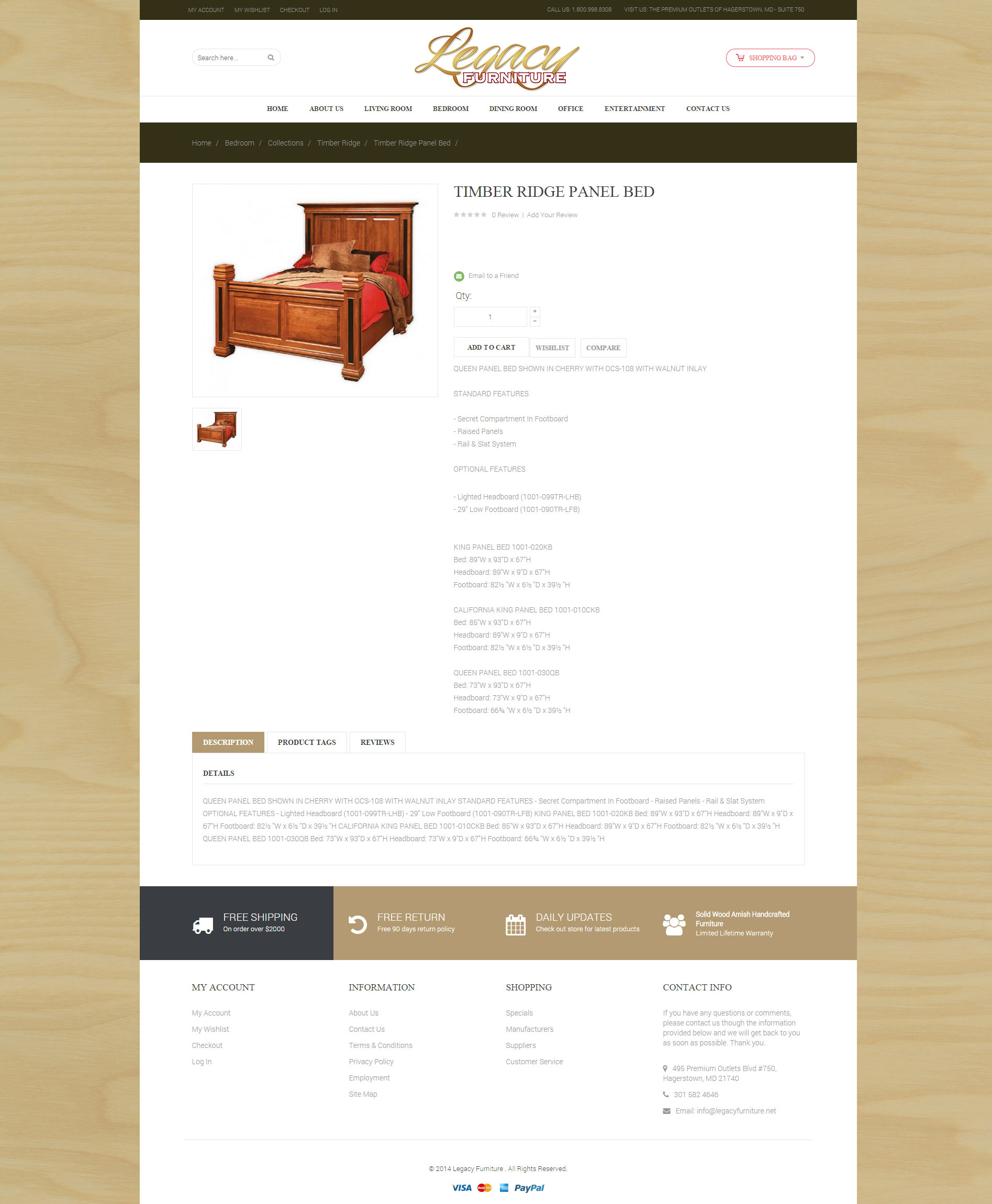 Legacy Furniture Product page